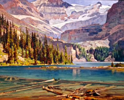 """Lake O'Hara,"" circa 1935, by Carl Rungius (1869-1959) (Canon 7D with 50mm lens, f/2, 1/90, ISO 800)"