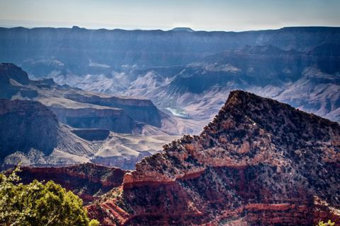 A Small Section of the Colorado River Is Visible from Cape Royal in the Morning