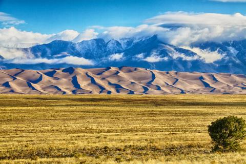 The Great Sand Dunes Stand Between the San Luis Valley and the Sangre de Christo Mountains
