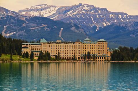 The Chateau Lake Louise Dominates the Eastern Shore of the Lake