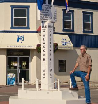 Standing at Mile Zero on the Alaska Highway