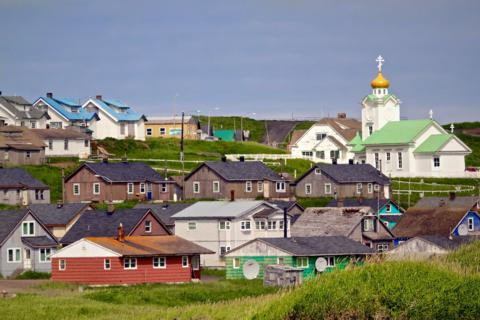 The City of Saint Paul, Saint Paul Island, the Pribilof Islands, Alaska, and its Russian Orthodox Church on a Rare Sunny Day