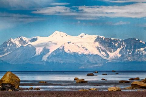 Mt. Spurr, an 11,000 Foot Volcano, Rises Across Cook Inlet from Glacial Erratics at Captain Cook State Recreation Area