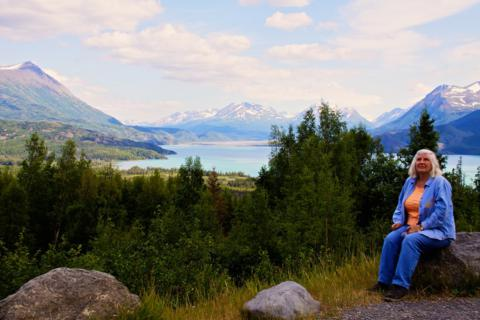 Marveen Takes In the Scene at Hidden Creek Overlook in the Kenai National Wildlife Refuge