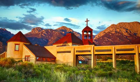 The Nada Hermitage Chapel in Crestone at Sunset