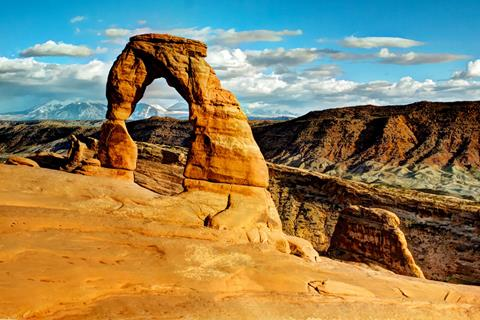 Delicate Arch and the La Sal Mountains in All Their Late Afternoon Glory