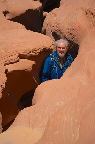 "​The ""Photographer"" Emerges from the Canyon​ (Photo by Kylie Valencius)"