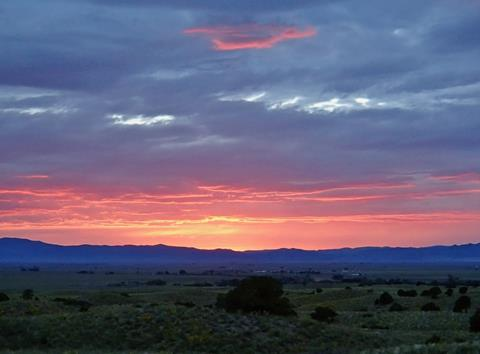 Sunset on the San Juan Mountains from Nada (Photo by Sally Blaser : Used by Permission)