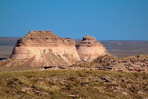 The Pawnee Buttes in Midday