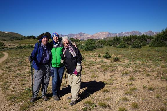 Patrick Mulligan, Alice Clay, and Catherine Mulligan at Forest Canyon Pass